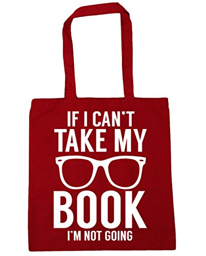 HippoWarehouse If I can't take my book I'm not going Tote Shopping Gym Beach Bag 42cm x38cm, 10 litres Classic Red