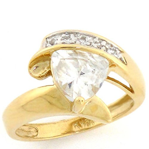 14k Solid Yellow Gold 2 Ct Triangle CZ Bypass (Cubic Zirconia Bypass Ring)