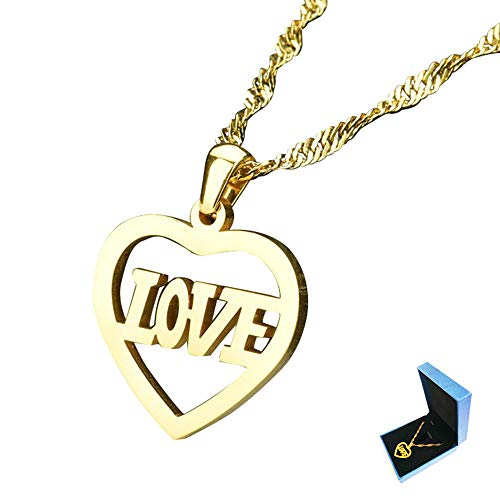 Q&S Jewels Mens Womens Gold Necklace with Love Heart Pendant & 20 Inch Singapore Chain Stainless Steel 18K Gold Plated Fashion Jewelry for Boy GILR