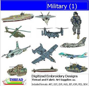 Threadart Machine Embroidery Designs - Military(1) - USB Stick