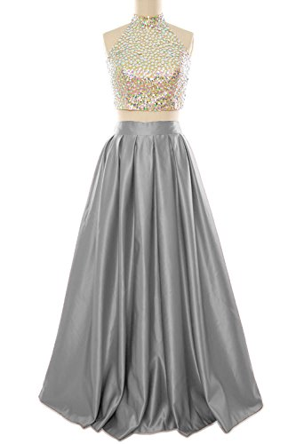 Neck Gown Macloth Ball Silver Women Evening High Two Homecoming Prom Dress Long Piece qAIPSA
