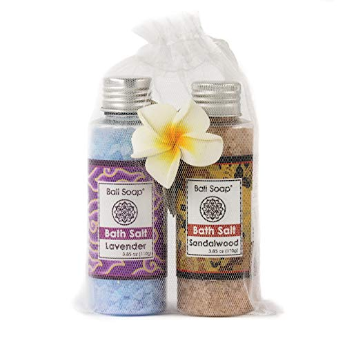 Lavender & Sandalwood Bath Salt Gift Set, Ideal for Sore Muscles, Detox, Relax & Stress Reliever, Small 2pc 3.8 Oz each, by Bali Soap
