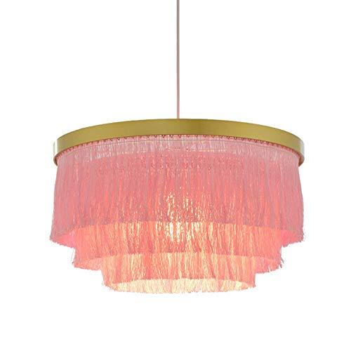 Nordic Decorative Pendant Light Warm Romantic LED Tassel Ceiling Chandeliers Gray/Blue/Pink/White Creative Restaurant Bedroom Dining Room Ceiling Hanging Lamp (Color : Pink) (Bedroom Chandelier White)