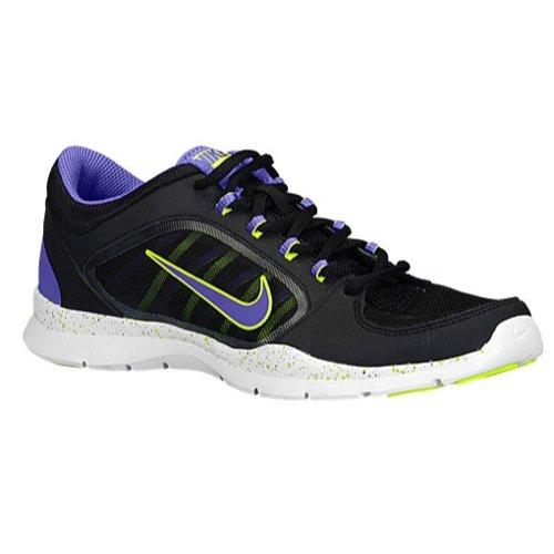 Nike Womens Flex Trainer 4 Black/Volt/Hyper Grape Sneaker 8.5 B (M)