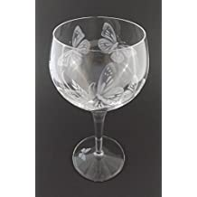 Hand Etched Luigi Bormioli Michelangelo Masterpiece Italian Crystal Goblet Sandblasted (Sand Carved) Handmade Wine Water Glass Engraved (Butterfly Grass, 500ml (17 Ounce) Red Wine)