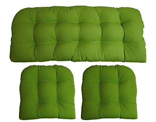 - RSH Decor Sunbrella Canvas Macaw 3 Piece Wicker Cushion Set - Indoor/Outdoor Wicker Loveseat Settee & 2 Matching Chair Cushions - Lime Green