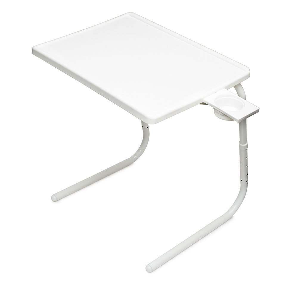 Table Mate II Folding TV Tray Table and Cup Holder with 6 Height and 3 Angle Adjustments The Original TV Tray (White)