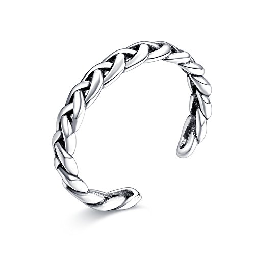 Sterling Silver Braided Celtic Knot Adjustable Open Band Ring, LicLiz Toe Ring for Girls Width 3.3mm Adjustable Sterling Toe Rings