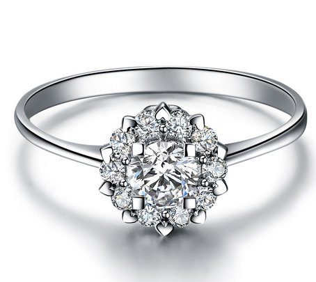 """Gowe Ignorer en Amour """"1,5carat Diamètre"""" Effet 0,21CT Bague de fiançailles sertie de diamants en or blanc 18carats (Au750)"""