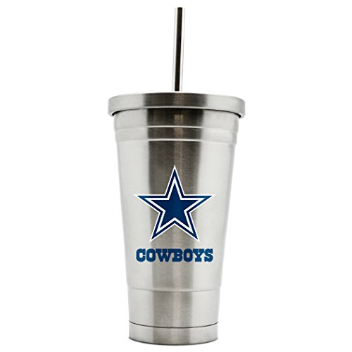 - NFL Dallas Cowboys 17oz Double Wall Stainless Steel Thermo Tumbler with Straw