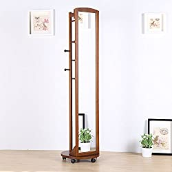 Full Length Mirror Standing,Wooden Frame 69'' Tall Full Body Mirror Floor Mirror Roller Caster,Hanging Bar,Coat Stand,Coat Hooks-Solid Pine Wood,Brown