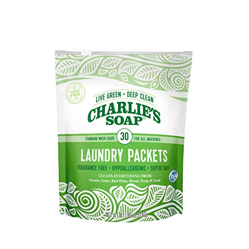 - Charlie's Soap - Fragrance Free Powdered Laundry Detergent Packets - 30 Pods (1 Pack)