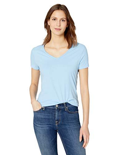 Hanes Women's Nano Premium Cotton V-Neck Tee, Light Blue, Medium ()