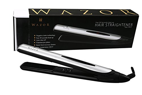 Wazor Hair Flat Iron 1 Inch Ionic Ceramic Hair Straightener Professional Flat Iron With LED Digital And Temperature Control From 284 To 446 Auto Shut Off