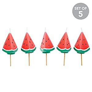 SunnyLIFE Themed Cake Candles in Animal, Plant, and Food Shapes, Set of 5 - Watermelon
