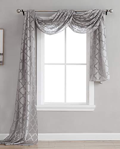 (HLC.ME Lattice Sheer Voile Burnout Long Window Swag Scarf Valance - Grey - 54