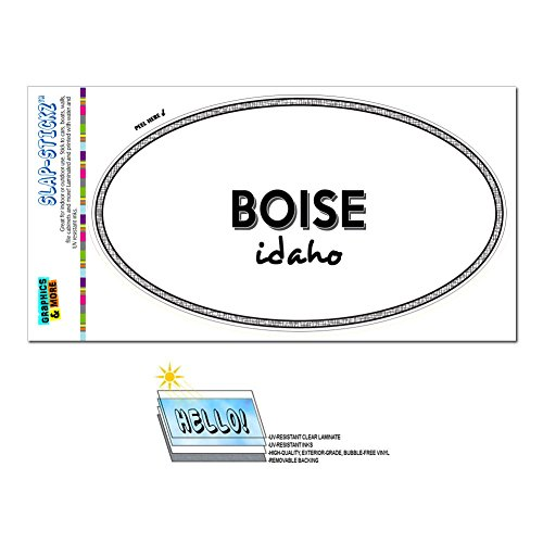 (Graphics and More Euro Oval Window Bumper Glossy Laminated Sticker Idaho ID City State Ame - Wei - Boise)