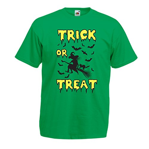 lepni.me T Shirts for Men Trick or Treat - Halloween Witch - Party outfites - Scary Costume (Small Green Multi Color)
