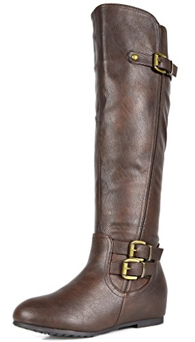 brown Women's Wedge Calf Wide wide High PAIRS DREAM F Hidden Knee calf Boots Low 1q5PnWYz