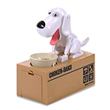 Liberty Imports Dog Piggy Bank Automated Cute Puppy Coin Bank (White)