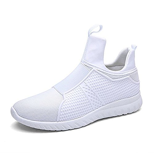 LAROK Men's High Top Breathable Running Shoes, Fashion Sport Athietic Sneaker,NLQ01,White,44