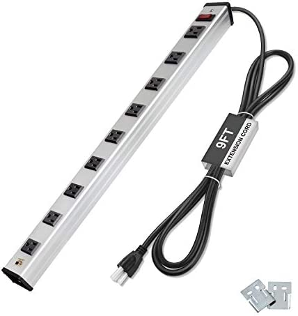 BESTTEN 9 Outlet Wide-Spaced Metal Power Strip with 9 Foot Long Extension Cord, 15A 125V 1875W, Heavy Duty Aluminum Alloy Housing, ETL Listed, Silver