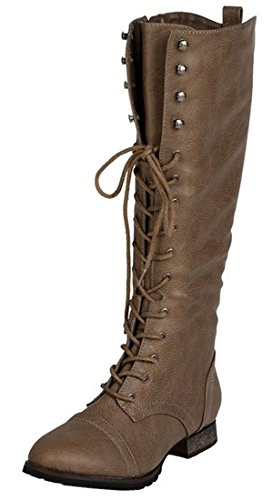 Breckelle's Outlaw-13 Women's Ankle Strap Tall Riding Boots Beige 6 (Boots Women Combat Breckelles)