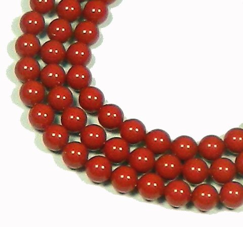 100 Coral RED Swarovski Crystal Pearls 6mm Round Beads (5810). 24 Inch Loose Strand
