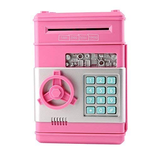 Shinetoys Ave 28th Kids Electronic Password Auto Scroll Paper Money Box Safe Piggy Bank (Pink) ()