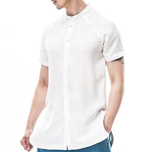 Kung Fu Smith Vintage Tai Chi Short Sleeve Stand Collar Jade Button Men Shirt, White (Jaden Smith Martial Arts)