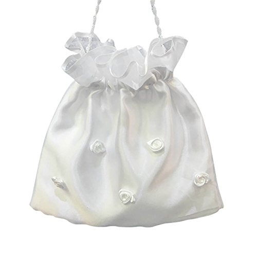 A StageOnline with for Pearls White Handbag Bridal Dolly Satin Bag Bag Satin Embroidered Bridal Wedding vvpqP6r7