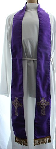 Priest Stole Purple with Celtic Cross - Felt Interlined