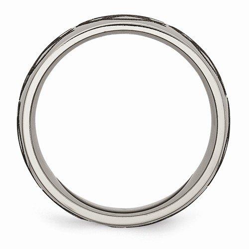 Grey Titanium Laser Design 8mm Band