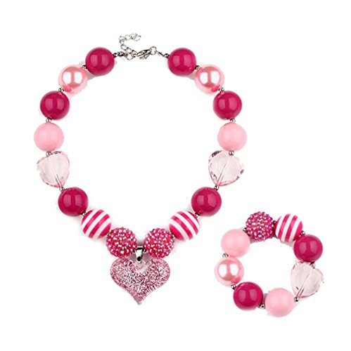 Little girls choker pink heart pendant colored chunky bead necklace bracelet set (Making A Big Daddy Costume)