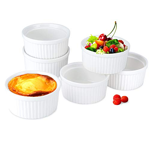(Secura 4 Oz Porcelain Ramekin Dishes (Set of 6), Souffle Dishes -4 Ounce for Souffle, Creme Brulee and Ice Cream (White))