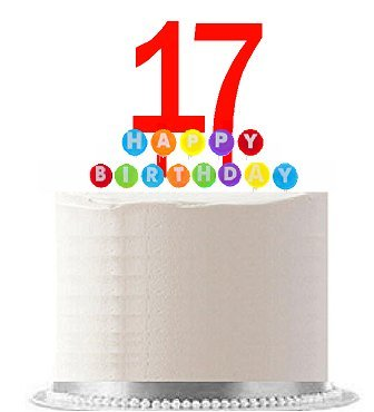 Item#017WCD - Happy 17th Birthday Party Red Cake Topper & Ra