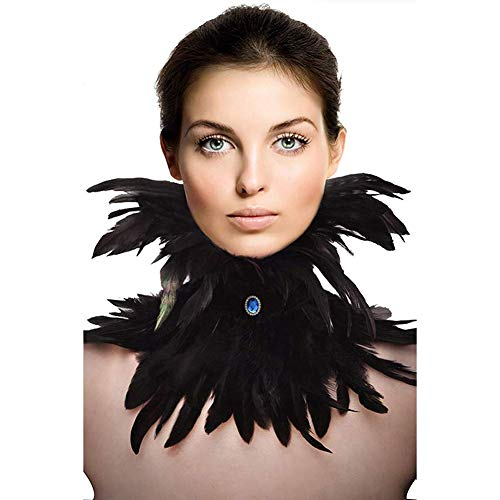 HOMELEX Gothic Victorian Black Natural Feather Collar Choker Halloween
