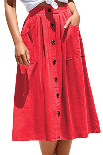 Meyeeka Womens Casual High Waist Flared A-line Skirt Pleated Midi Skirt with Pocket (L, Red)]()