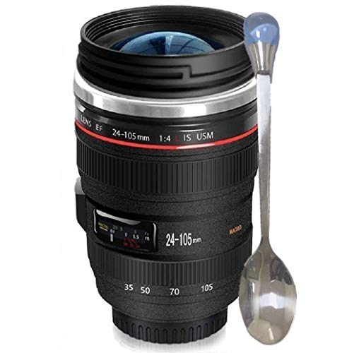 Camera Lens Coffee Mug/Cup With Lid,Photo Coffee Mugs Stainless Steel Travel Lens Mug Thermos Great Gifts for Photographers,Family,Friends - Chasing YEC (Thermo Photo)
