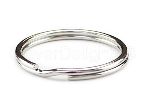 """100 Pack - CleverDelights 1 3/16"""" Large Key Rings - 30mm Split Key Rings - Strong Key Chain Ring Connector - 30mm 1 3/16 Inch"""