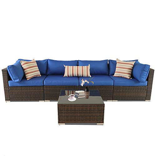 (Outime Patio Furniture Sofa 5pcs Brown Rattan Wicker Couch Set Garden Sectional Home Furniture w/Coffee Table Royal Blue Cushion)