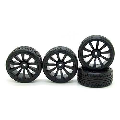 Price comparison product image RC 1 / 10 Racing Drift Flat Car Twist Rubber Tires & Black 10 Spokes Wheel Rims Pack of 4