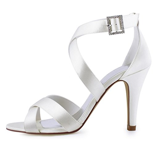Minitoo Ladies Buckle Ankle Wrap Satin Trendy Wedding Dress Sandals White-10cm Heel kvg9y0dN