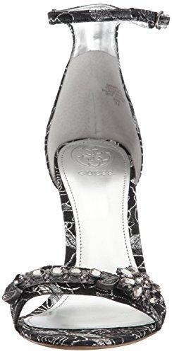 Guess Women's Partyer2 Heeled Sandal Black/Silver