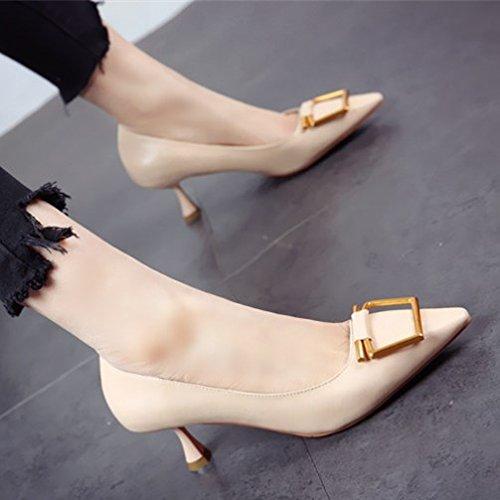 FLYRCX La primavera y el verano, personalidad de la moda tacones de patente dama con una multa sexy señaló boca superficial solo zapatos zapatos de trabajo. b