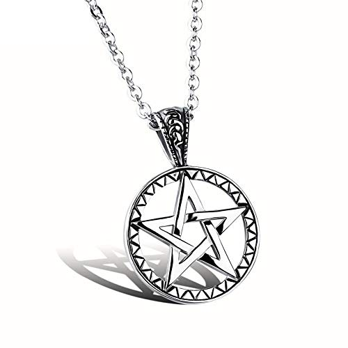 Hollow Five-Pointed Star Pendant -Titanium Steel Boy Necklace, Stainless Steel Jewelry Personality Creativity Gift from Family or Friends Necklace ()