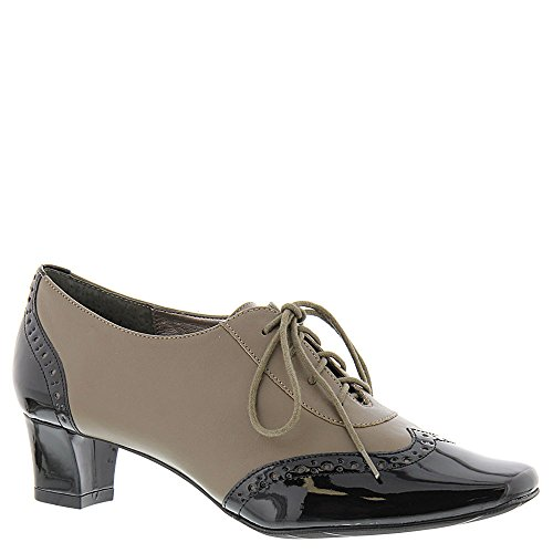 Class Square Womens Black Toe Leather Taupe Pumps Auditions First Classic qHEwUHP
