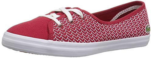 Lacoste Women's Ziane Chunky Sneaker, red/White Canvas, 6.5 Medium ()