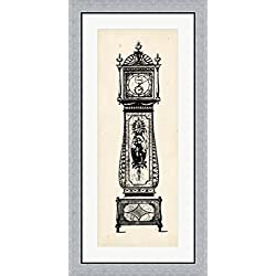 Antique Grandfather Clock II by Vision studio Framed Art Print Wall Picture, Flat Silver Frame, 20 x 40 inches