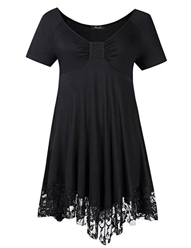 Swing Dress PLUS Maxi Lace Stitching Plus AMZ Size Casual Black Women's zB0qn18